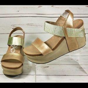 OTBT Bushnell Gold Wedge Sandals